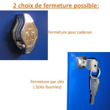Vestiaire bi place monobloc 6 cases porte de 40cm-h180 cm