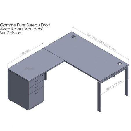 Bureau d'angle pure + retour caisson porteur Métal 60 cm et HB 80 cm