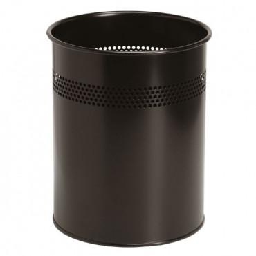 Corbeille à papier métallique Noir, poubelle - Negostock