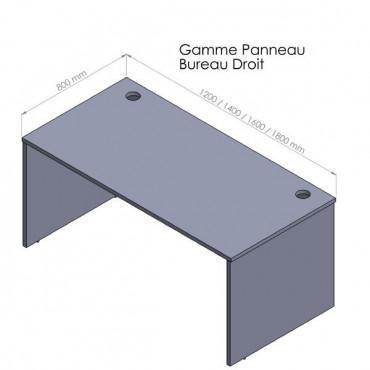 Bureau droit Entreprise, plateau de 25mm, piètement bois - Negostock