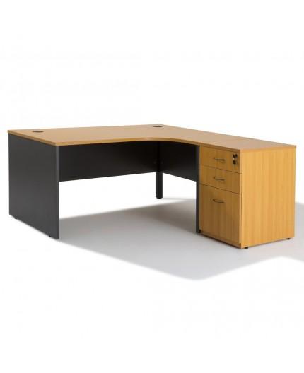 bureau d 39 angle avec rangement bois caisson negostock. Black Bedroom Furniture Sets. Home Design Ideas