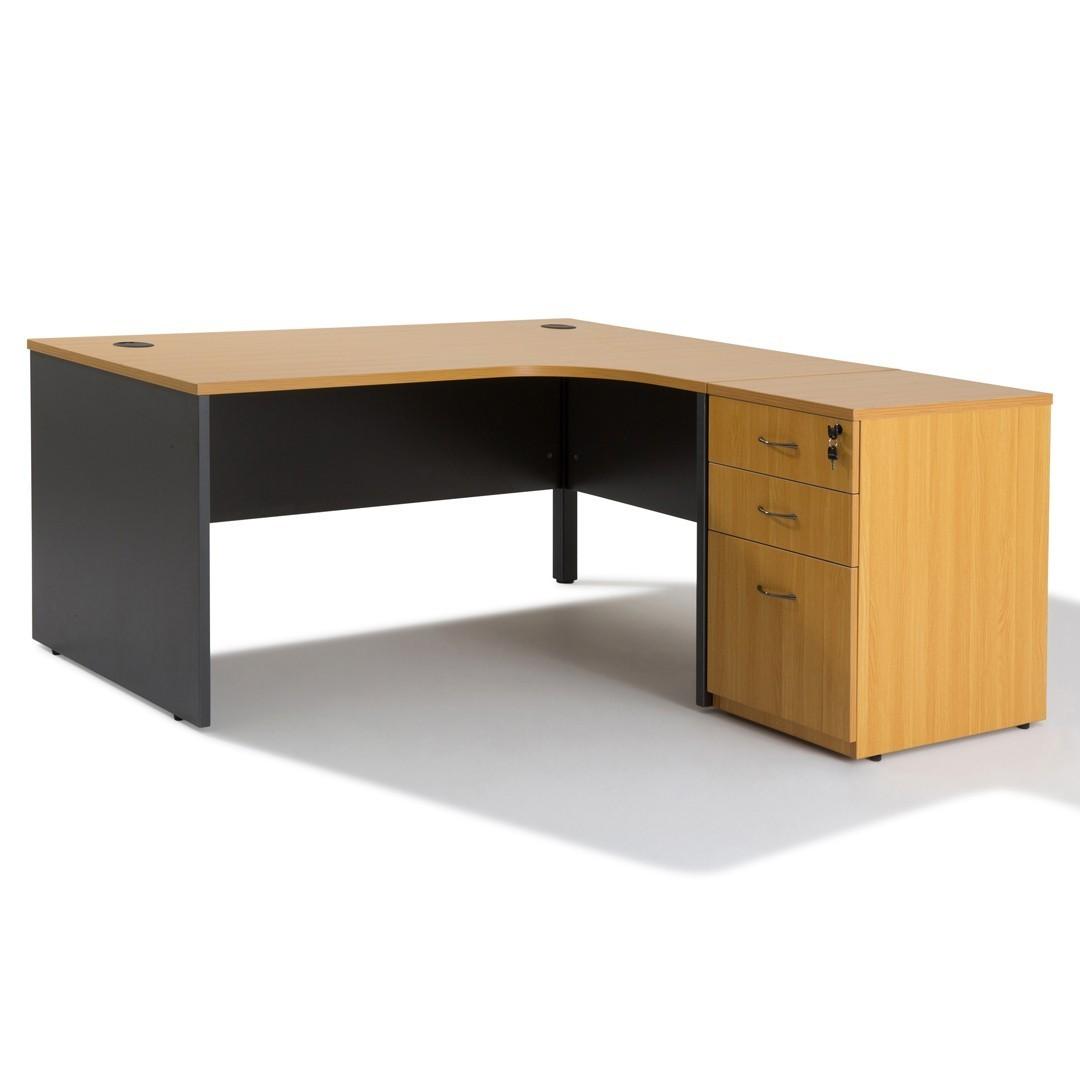 Idée Bureau D Angle bureau d'angle avec rangement bois caisson- gosto