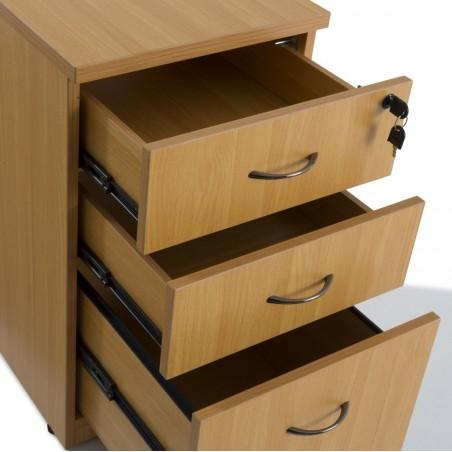 Bureau compact Panneaux + caisson HB Bois 60 cm