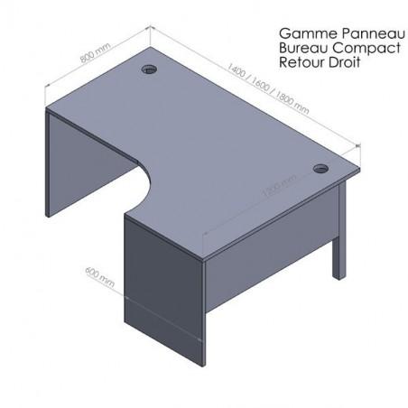 Bureau compact Panneaux + caisson HB Bois 80 cm