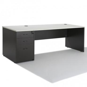 Bureau Droit Panneaux + caisson gris HB Bois 80 cm