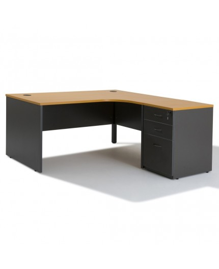bureau d 39 angle professionnel compact et caisson negostock. Black Bedroom Furniture Sets. Home Design Ideas