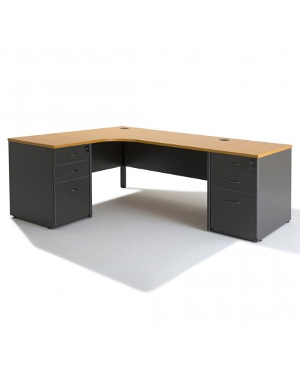 bureau d 39 angle avec caisson hauteur bureau negostock. Black Bedroom Furniture Sets. Home Design Ideas