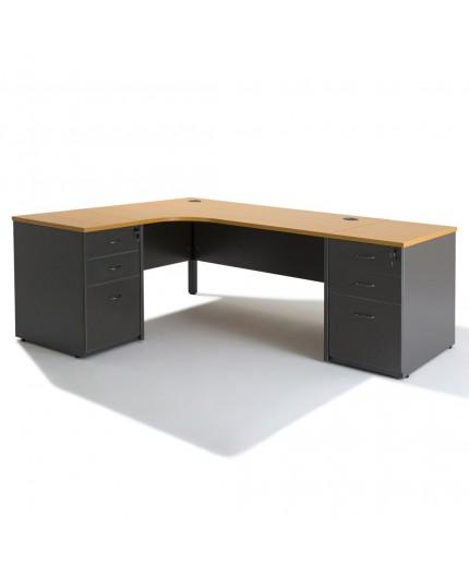 bureau d 39 angle avec caisson hauteur bureau negostock. Black Bedroom Furniture Sets. Home Design Ideas