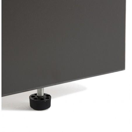 Bureau d'angle compact Panneaux + caisson HB Gris Bois 80 cm et 60 cm