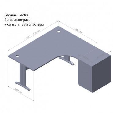 Bureau d'angle Electra - caisson métallique 3 tiroirs - Negostock