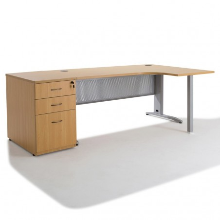 bureau d 39 angle electra avec 2 caissons bois negostock. Black Bedroom Furniture Sets. Home Design Ideas