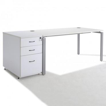 Bureau Droit PURE + caisson HB bois 80 cm