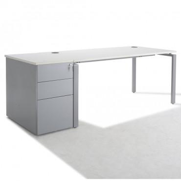 Bureau Droit PURE + caisson HB metal 80 cm