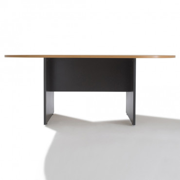 Table de réunion ovale, piètement bois - Negostock
