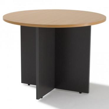 Table de réunion, ronde piètement bois - Negostock