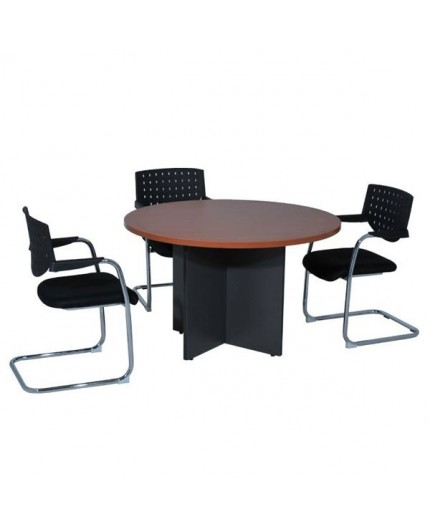 table de r union ronde pi tement bois negostock. Black Bedroom Furniture Sets. Home Design Ideas