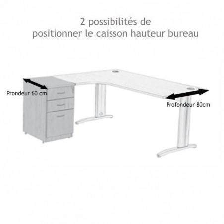 Caisson hauteur bureau bois Wist Gris 2T+1DS