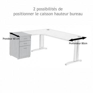 Caisson Bureau hauteur bureau métal alu Negostock