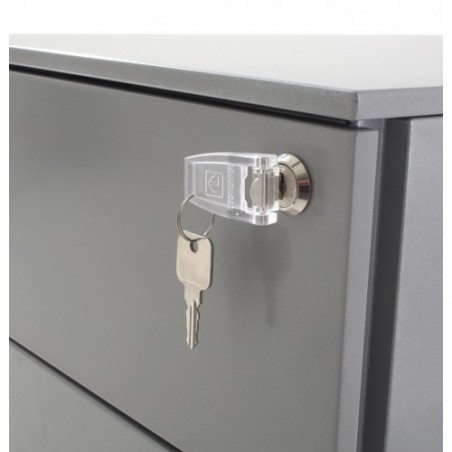 Caisson hauteur bureau metal 2 tiroirs + 1 dossier suspendu