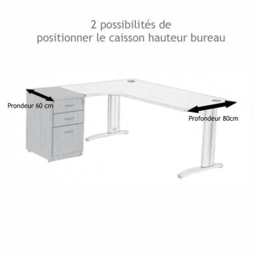 Caisson hauteur bureau metal alu, 2T + 1DS, Prof 60 cm - Negostock