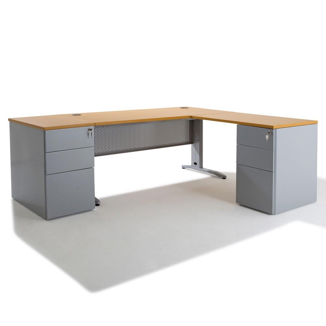 Idée Bureau D Angle bureau d'angle electra + retour avec caisson porteur métal 60 cm et hb 80 cm