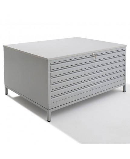 meuble pour plan mtallique quipe de 6 tiroirs mtalliques fermant par une serrure cls centralise