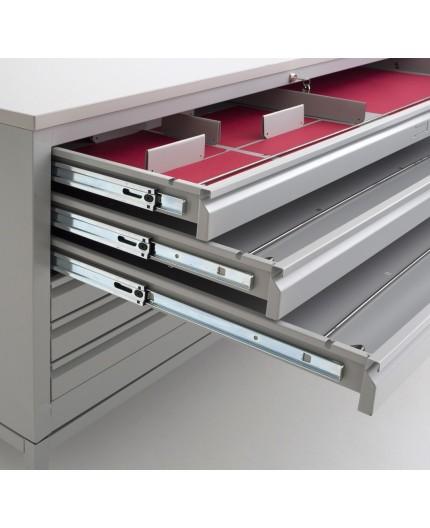 meuble pour plan, métallique équipée de 6 tiroirs métalliques fermant par une serrure à clés centralisée, idéal pour le