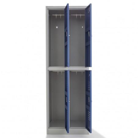 Vestiaire bi-place monobloc 4 cases h180