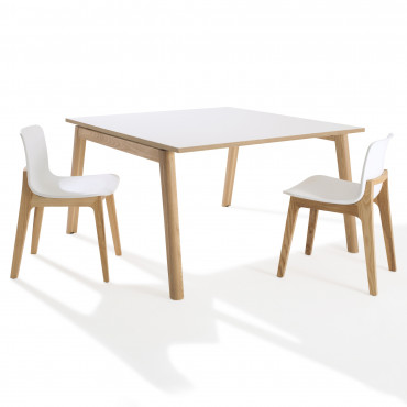 Table de réunion carré Cosy Wood 4 personnes