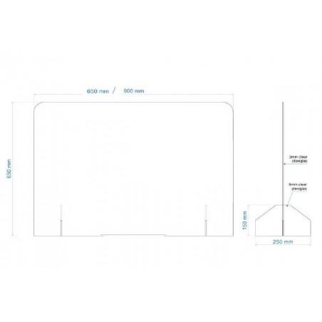Hygiaphone Vitre de protection plexi à poser de 65 à 90 cm