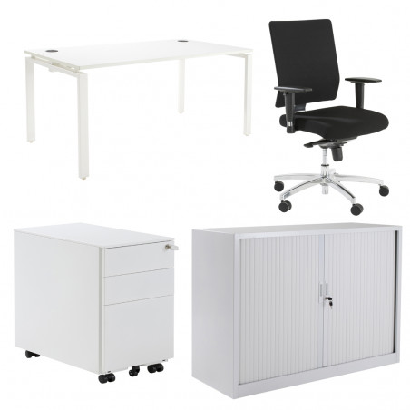 Pack Bureau Pure + caisson + fauteuil + armoire