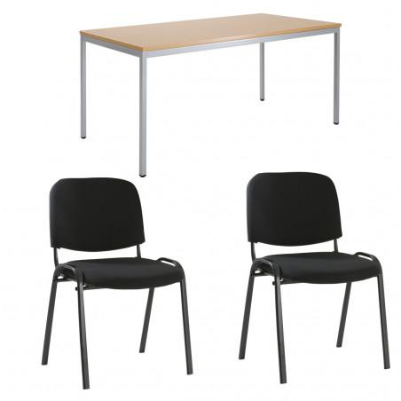 Pack Table rectangulaire et 2 chaises Porto