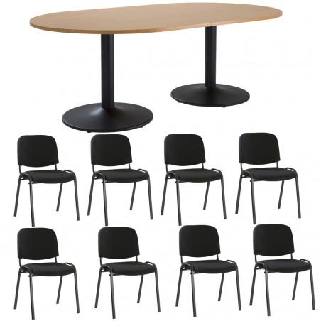 Pack table de réunion ovale et 8 chaises Porto