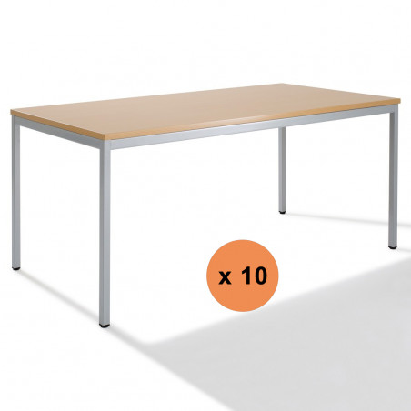 Lot de 10 tables rectangulaires modulables