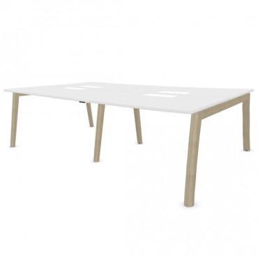 Bench de 4 bureaux pour open space - Gamme Cosy wood