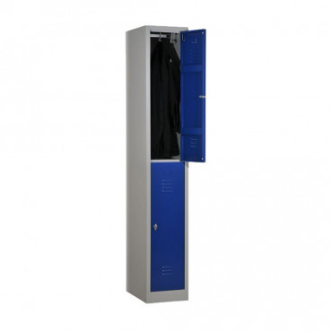 Vestiaire bi-place monobloc 2 cases h180 porte 30 cm