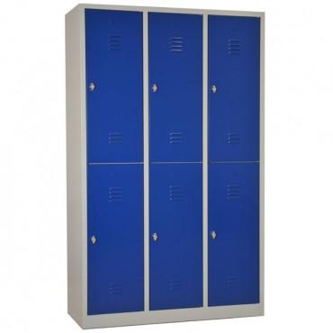 Vestiaires bi-place monobloc 6 cases h180 porte 30 cm