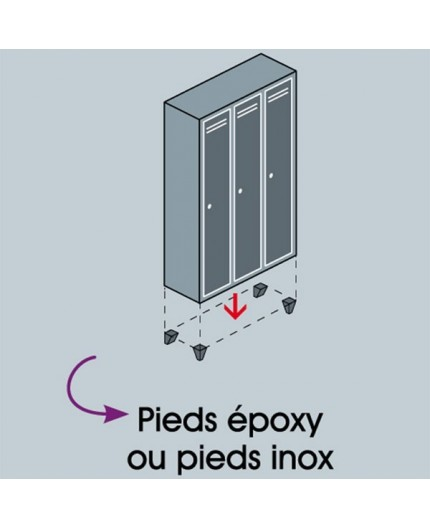 Pieds Inox pour vestiaire - Accessoire vestiaire - Negostock