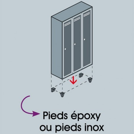 Pieds Inox pour vestiaire