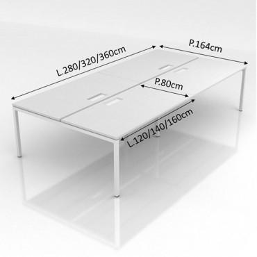 Pôle de 4 bureaux - L.280 x P.160 cm - Cloison tissu - Sierra
