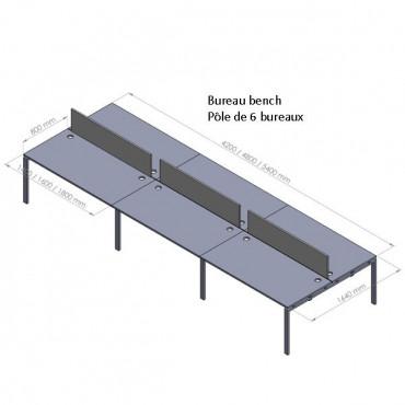 Bench de 6 bureaux avec cloison en plexi - Negostock