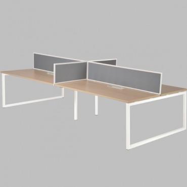 Bench de 4 bureaux-L320xP164cm avec cloisons latérales GE2-Cube