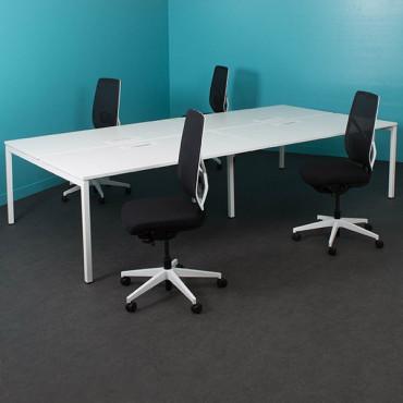 Pôle de 4 bureaux -Gamme Sierra - L.280 x P.160 cm - Cloison plexi - Sierra
