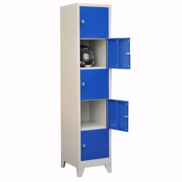 Vestiaire métallique multicases monobloc 5 cases sur pieds.