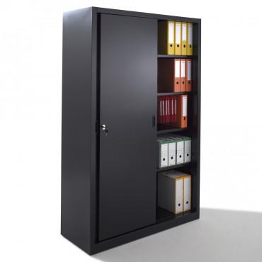 Armoire bureau porte coulissante mobilier bureau negostock - Armoire coulissante noir ...
