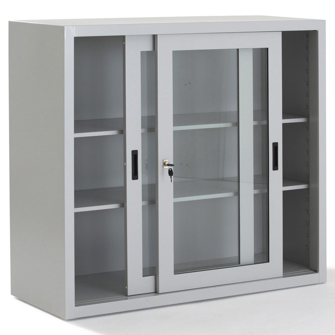 Placard À Portes Coulissantes armoire métallique porte coulissante transparente - gosto