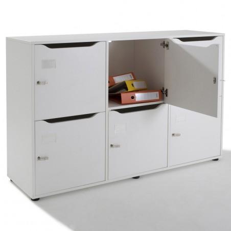 Vestiaire meuble casier multicases en bois 6 cases
