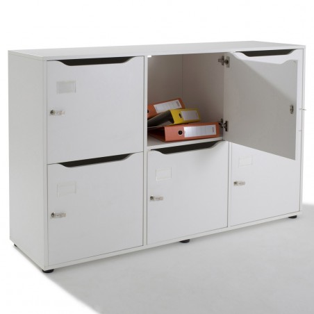 Vestiaire meuble casier en bois 6 cases negostock - Meuble a casier ...